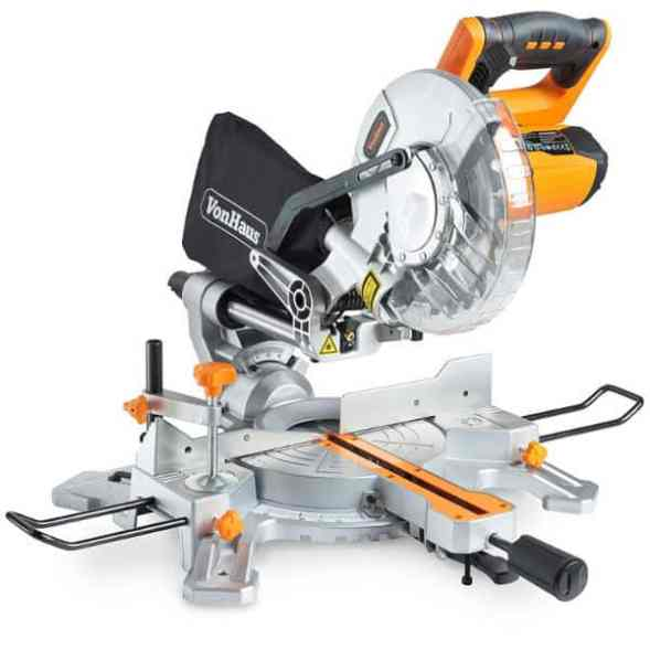 """The VonHaus 1500W 8"""" (210mm) Sliding Mitre Saw is a cheap tool that will make those straight cuts through a variety of materials. It is not of the same quality like the reputable brands such as DeWalt or Makita but it offers value for the money."""