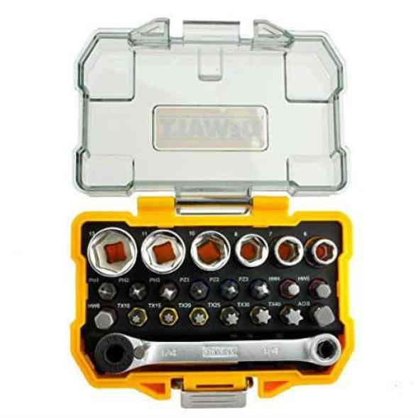 The DeWalt DT71516-QZ 1/4-Inch Socket and Screwdriver Set is a very good product and is immediately noticeable. The contents are made from high-quality materials and are well packaged. We love the clear top on the carry case as it enables easy visibility. The price is very affordable for the pieces that you get.