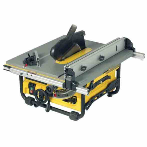 """he winner of our """"Best Pick"""" is none other than the DeWalt (DW745) Compact Job SiteTable Saw. Designed for professional tradesmen, this tool houses a powerful 1850W motor that drives a 24-tooth blade to bite through any piece of material thrown at it. The motor also benefits from overload protection."""