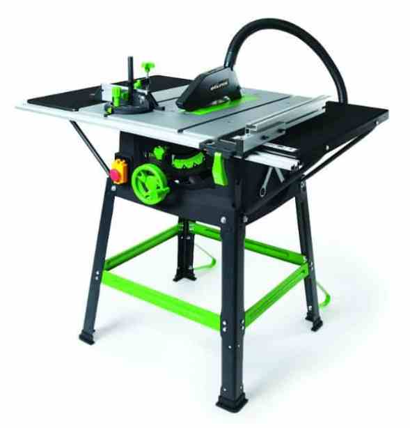 This model excels in the accessories department as it includes things such as adjustable rip fence, 2 x fence rails, anti-bounce device, 2 x table extensions, 2 x blade changing tools, mitre gauge, among others. It really takes an experienced person to make the most of this table saw. The final positive is that the tool comes with a 3-year warranty and it's a serious bargain.