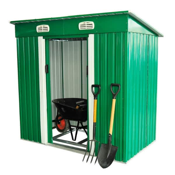 Outsunny 4 x 6 ft Pent Roofed Metal Garden Shed Review