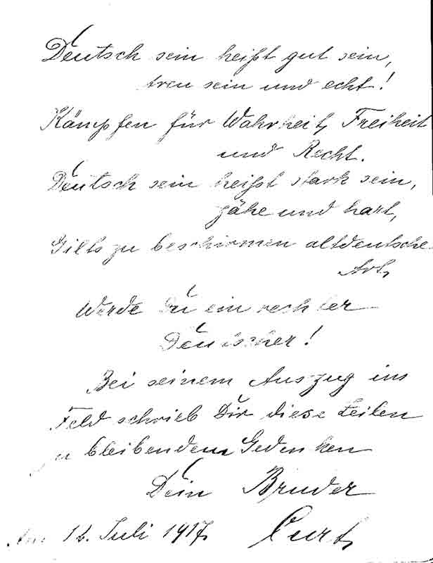 Poesiealbum, Der Eintrag von Curt Frege vom 12. Juli 1917