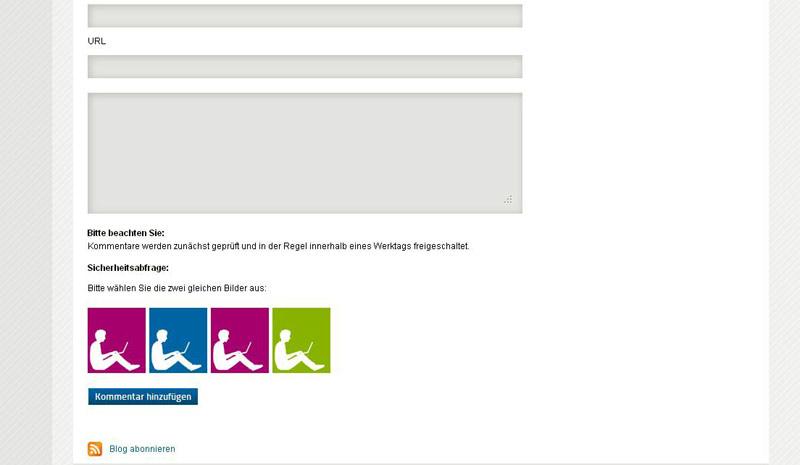 Screenshot der Captcha auf dem Blog der Bastei-Lübbe-Adademy.