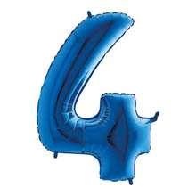 Palloncino mylar blu 1 mt Numero 4