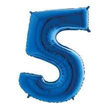 Palloncino mylar blu 1 mt Numero 5