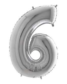 Palloncino mylar argento 1 mt Numero 6