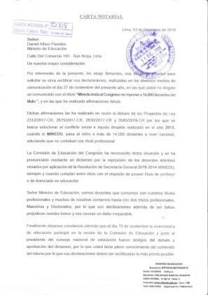 Carta Notarial a Ministro de educación Daniel Alfaro
