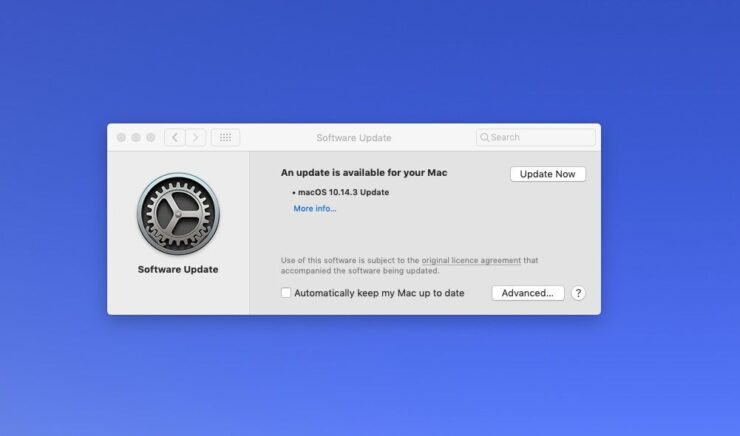 Mac actualización de software
