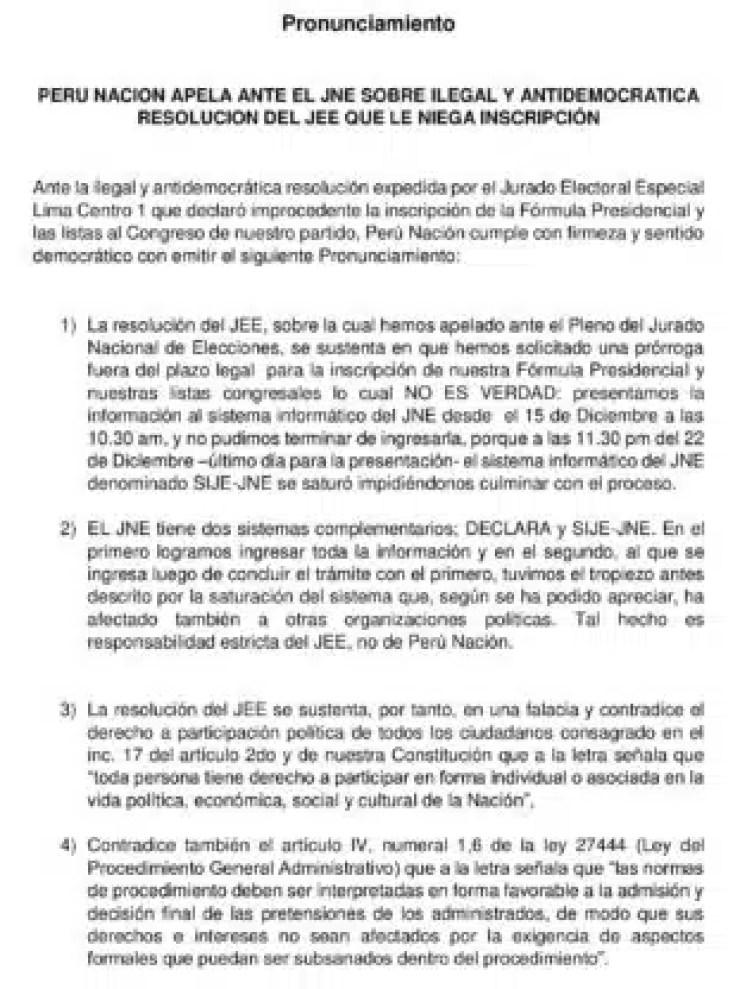 PRONUNCIAMIENTO DE PERÚ NACIÓN