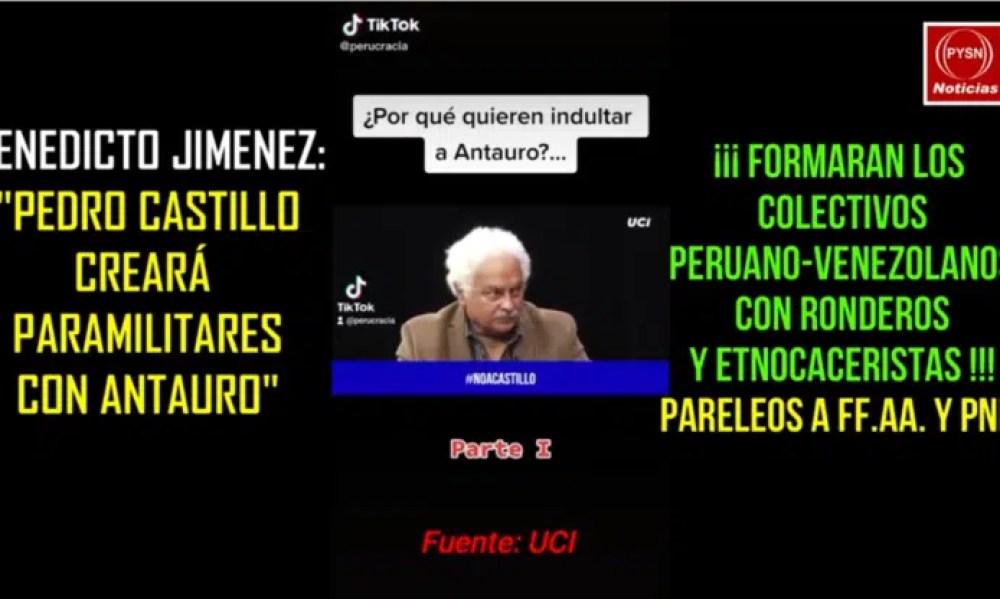 BENEDICTO JIMENEZ PEDRO CASTILLO QUIERE CREAR PARAMILITARES EN PERÚ