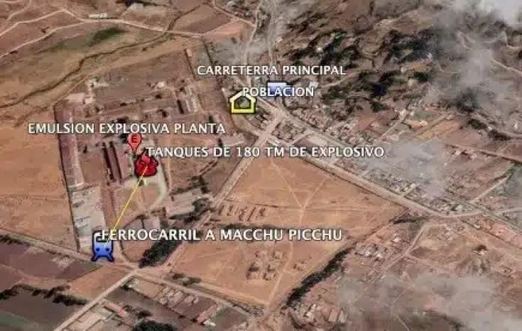 Cercania de la Planta de emulsión explosiva y linea de ferrocarril a Pachu Picchu