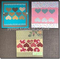 3 kort med hjärtan