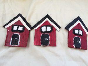 3 pack sjöbodar med svart dörr