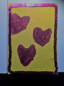 Stämplat alla hjärtans kort av äggkartonger
