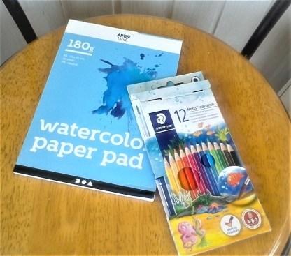 Akvarellpaket med block, färgpennor och pensel