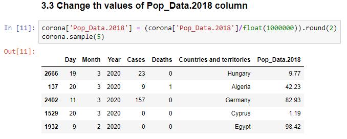 تحليل بيانات فيروس كورونا - تغيير قيم عمود احصائية السكان وتقريبه