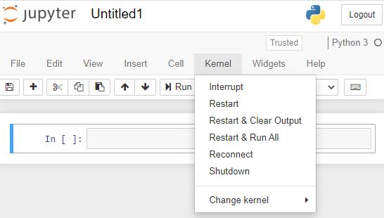 خيارات kernel في مستند jupyter