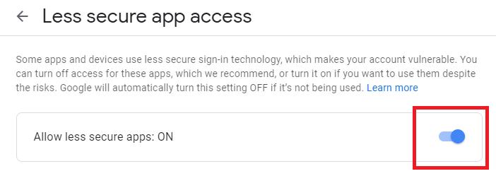 تفعيل خيار الوصول لتطبيقات الأقل أمانًا
