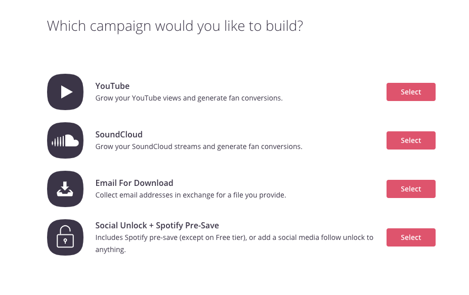 Show.co pre-save campaign for Spotify