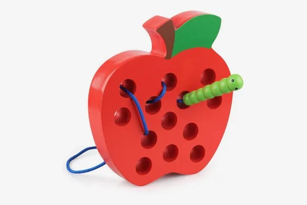 Coogam Wooden Lacing Apple Threading Toy