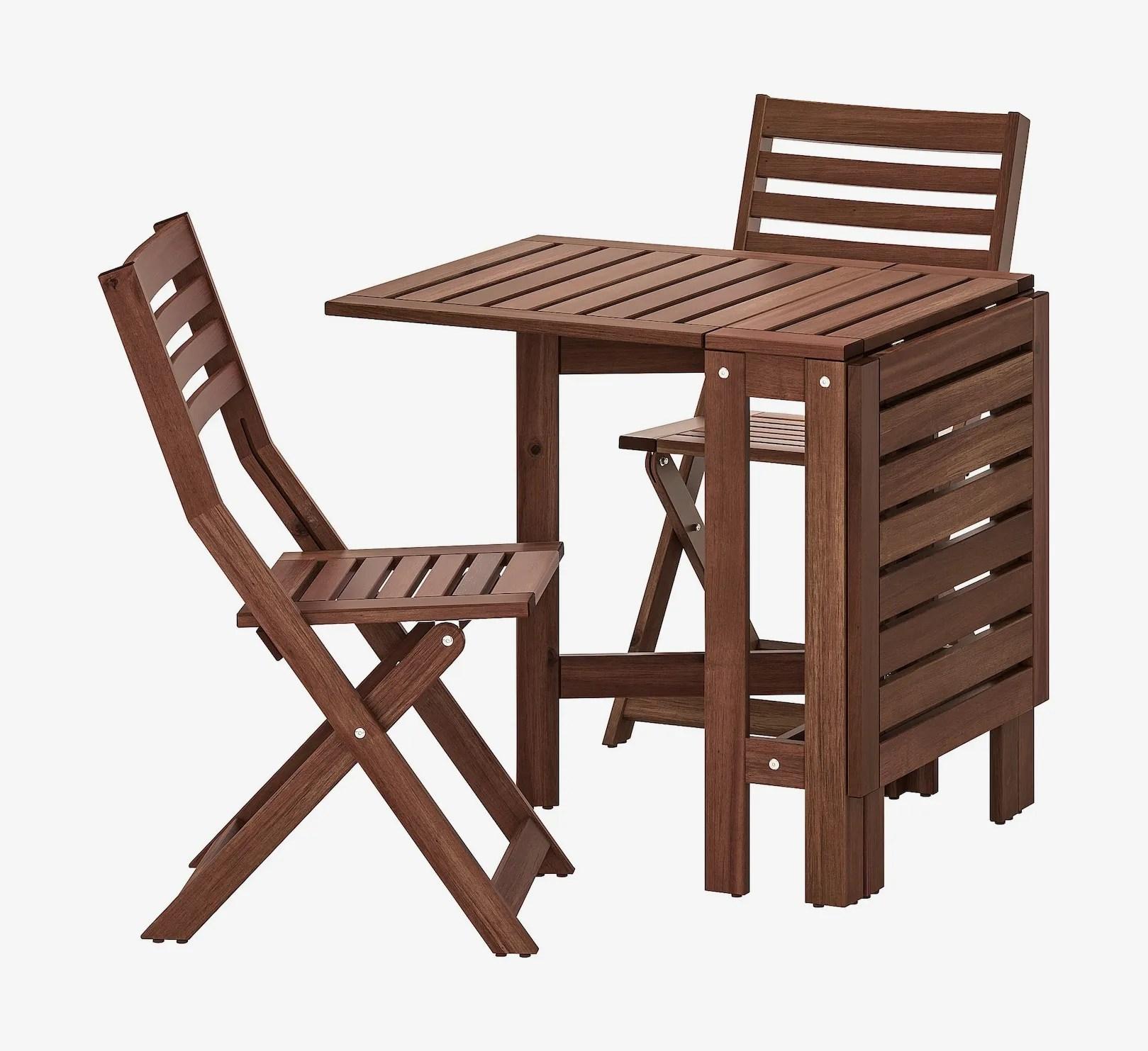 ikea applaro table and 2 folding chairs