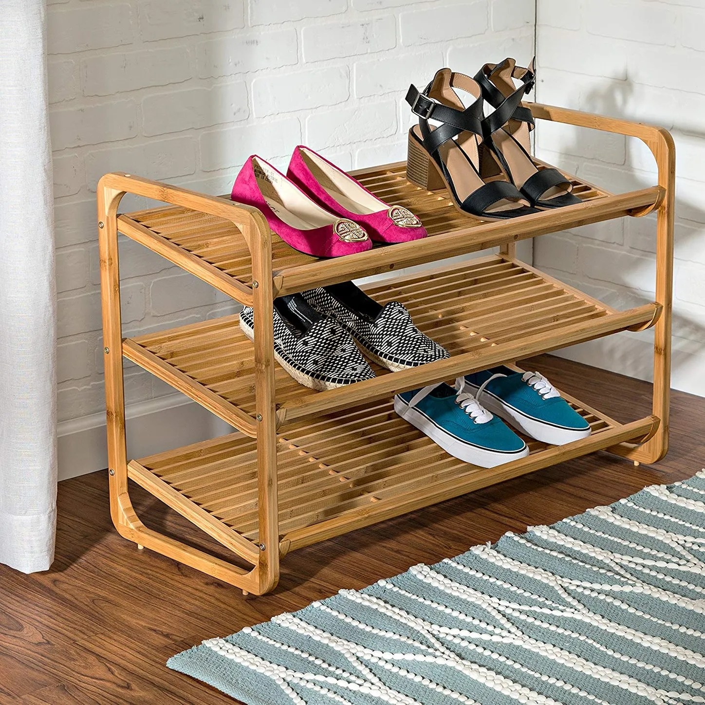 honey can do bamboo three tier shoe shelf