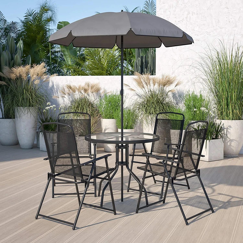 flash furniture nantucket 6 piece black patio garden set with table