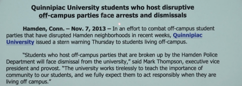 Quinnipiac University issues warning regarding off-campus parties