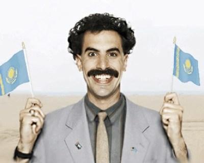 Borat holding Kazakhstan Flag