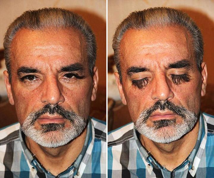 Pic shows: Ukrainian man Valery Smagliy has super long eyelashes