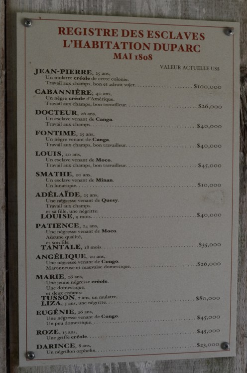 Retranscription du registre, avec la valeur actuelle de chacun des esclaves
