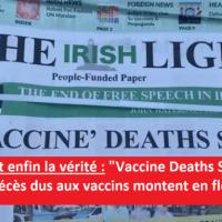 """Q SCOOP - Le journal irlandais """"The Irish Light"""", annonce en première page, que """"Les décès dus aux vaccins montent en flèche""""."""