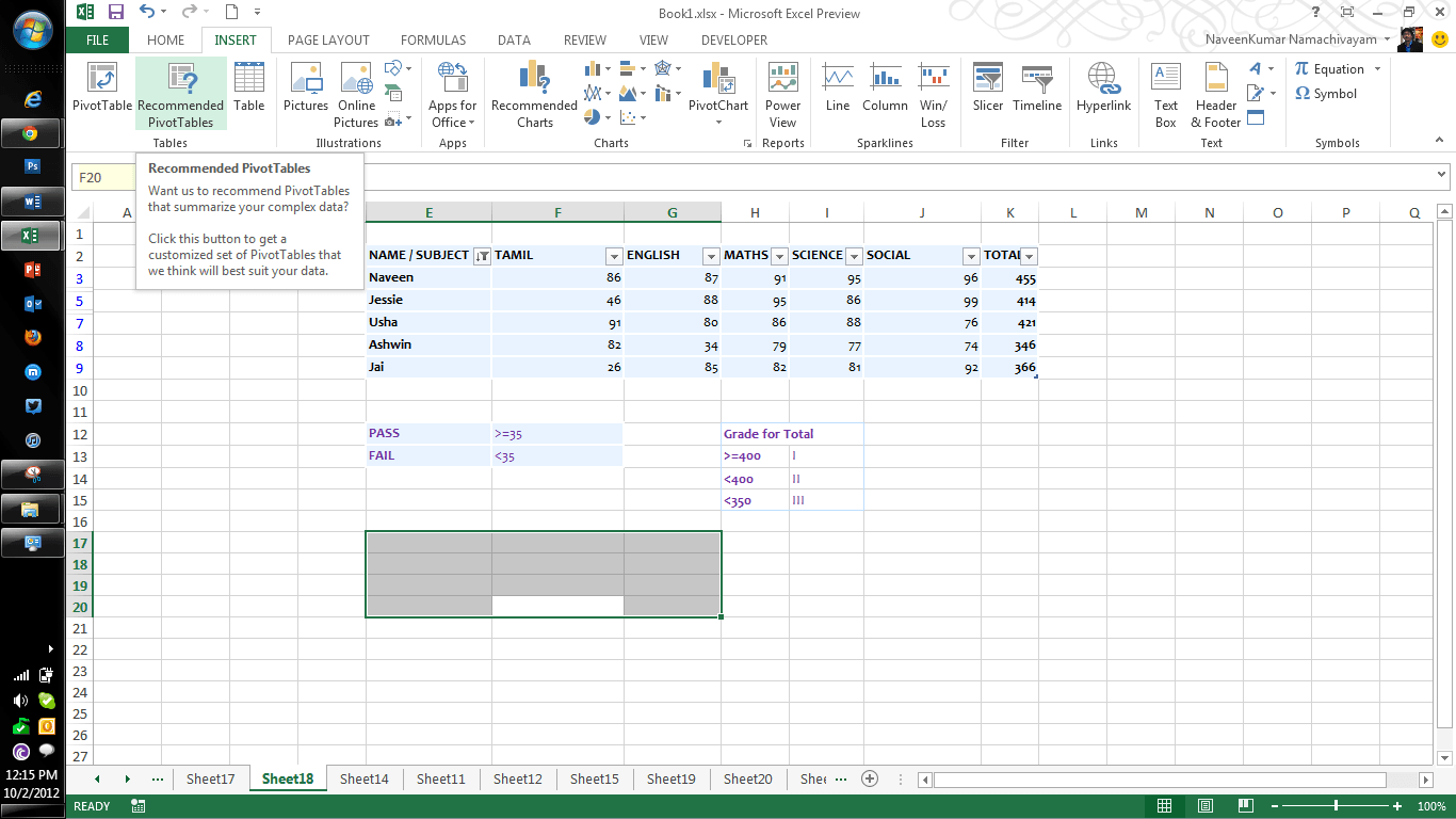 Microsoft Excel Features Part Three