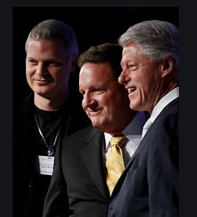 Steve Bing with party friends  Ron Burkle and Bill Clinton QAnon.fun