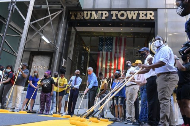 de Blasio and Al Sharpton graffiti the street in front of Trump Tower NYC QAnon.fun These guys are bought and paid for and obviously anti-American
