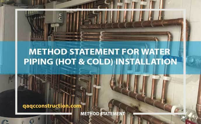 method statement for hot & cold water piping installation