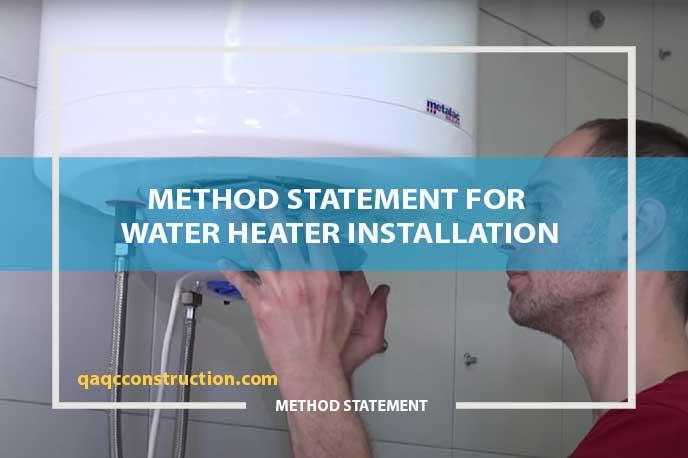 method statement for water heater installation