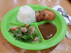 Bicol Express with Lechon Kawali and rice