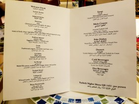 Menu for the Turkish Nights at the Village Midmac