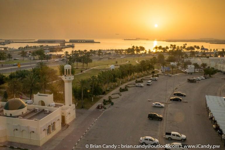 Sunrise seen from my room in Mövenpick Doha