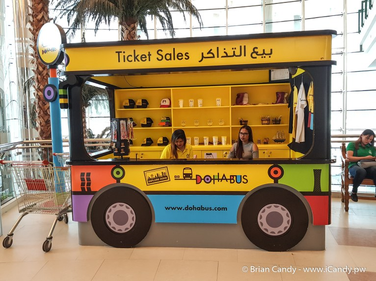 Doha Bus ticket sales kiosk located in City Center Mall