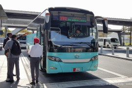Bus 777 at its stop in Doha International Airport