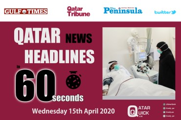 Qatar News in 60 Seconds - Wednesday 15th April 2020