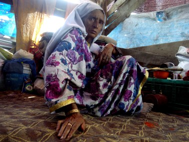 Razia, 80, at a relief camp in Sonawar. Razia was stranded on the rooftop of her daughter's home and was rescued by her neighbours after making desperate calls for help.
