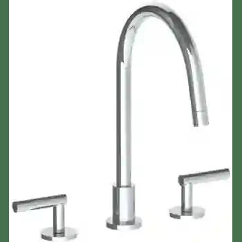 loft 2 0 deck mounted 3 hole gooseneck kitchen faucet