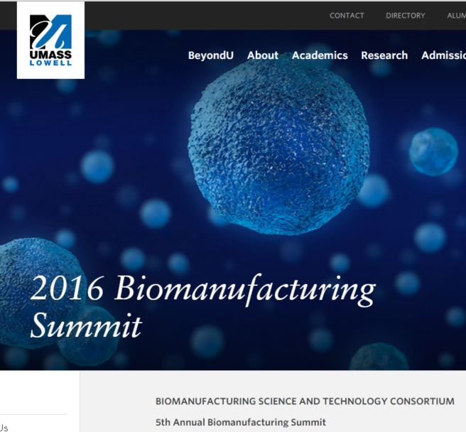 QbD Workshop at Biomanufacturing Summit, May 23-24, 2016 at UMass Lowell