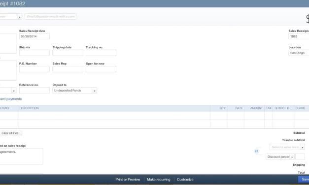 Create Sales Receipt in QBO