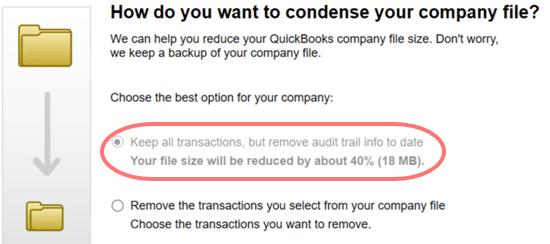 QuickBooks condense repair tool - screenshot