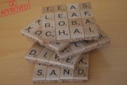 Themed, cork-bottom Scrabble coasters / QC APPROVED.