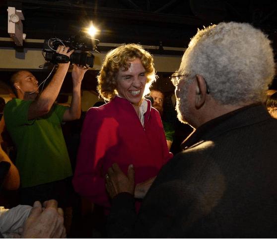 Jennifer Roberts greets supporters